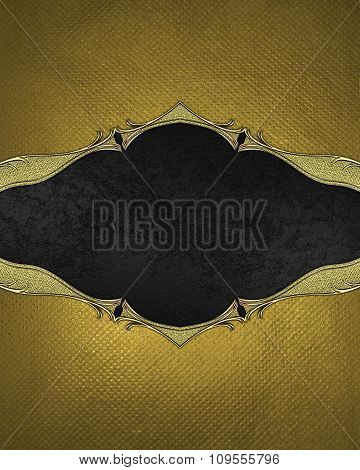 Gold Frame With A Black Background. Element For Design. Template For Design. Copy Space For Ad Broch
