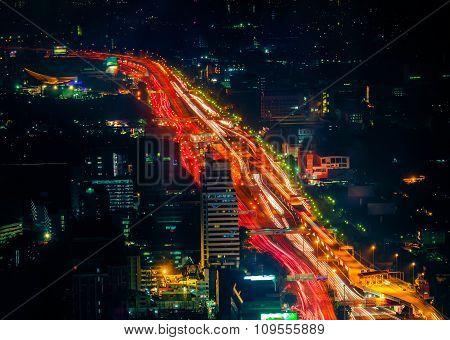 Futuristic Night Cityscape. Bangkok, Thailand