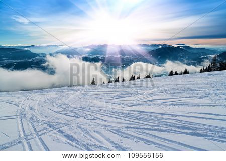 Ski Slope With Ski Tracks.