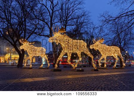 Christmas Moose Herd Made Of Led Light