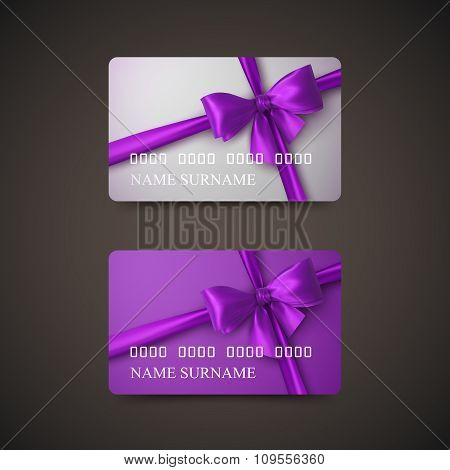 Gift Cards With Purple Bow And Ribbon.