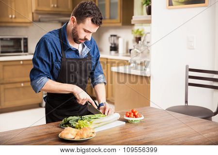 Chopping Some Vegetables At Home