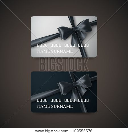 Gift Cards With Black Bow And Ribbon.