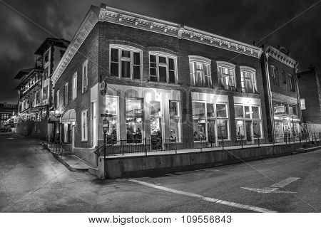 Old Town Bisbee Arizona At Night In Black And White