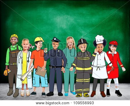 Children Kids Dream Jobs Diversity Occupations Concept