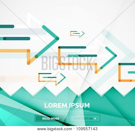 Abstract square banner template with arrows, linear design style. Vector illustration