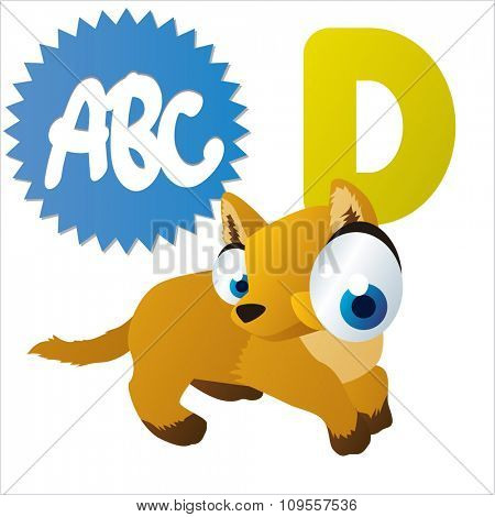 Australian funny cute animals cartoons alphabet:D  is for Dingo