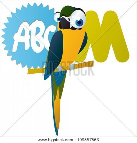 Australian funny cute animals cartoons alphabet: M is for Macaw