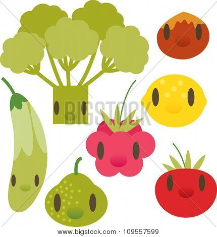 flat comic cartoon vegetable and fruits pictogram: broccoli, nut, zucchini, lemon, raspberry, pear, tomato