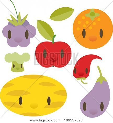 flat comic cartoon vegetable and fruits pictogram: gooseberry, orange, apple, chili pepper, melon, eggplant, broccoli