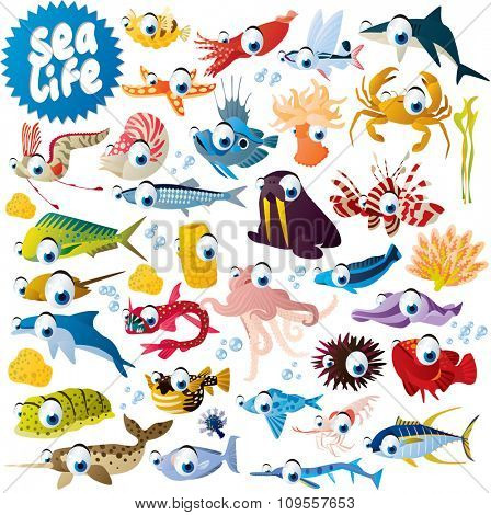 big vector set of cute funny comic cartoon animals, fish, birds and dinosaurs for apps, books, cards or stickers