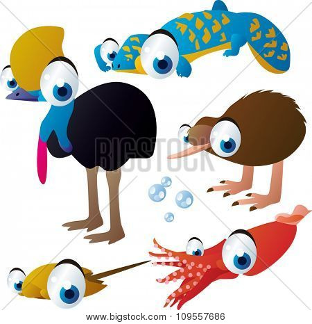 vector isolated flat animals collection set: australian animals: cassowary, lizard, kiwi, squid, horseshoe