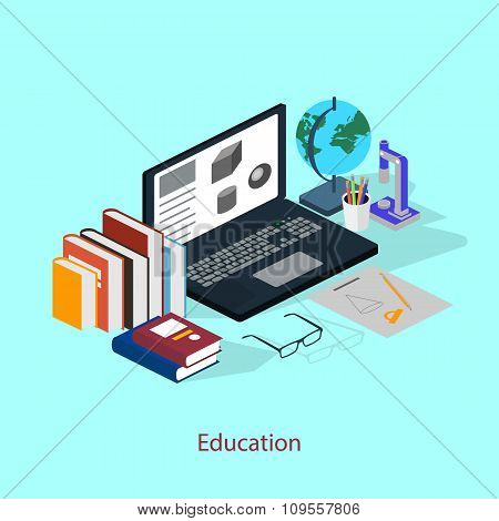 The concept of a student workplace. Education style isometric