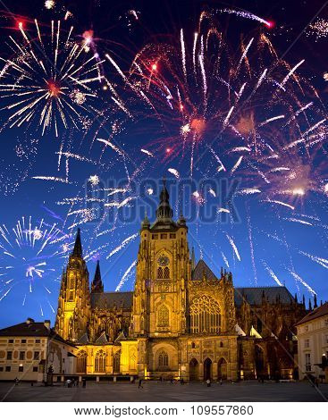 Festive fireworks over the Saint Vitus's cathedral Prague the Czech Republic