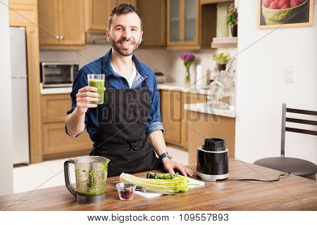 Young Man Drinking A Healthy Smoothie