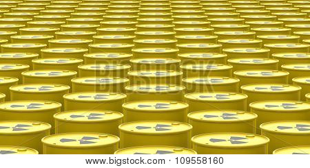 Barrels Contain Radioactive Waste Background. 3D Rendering