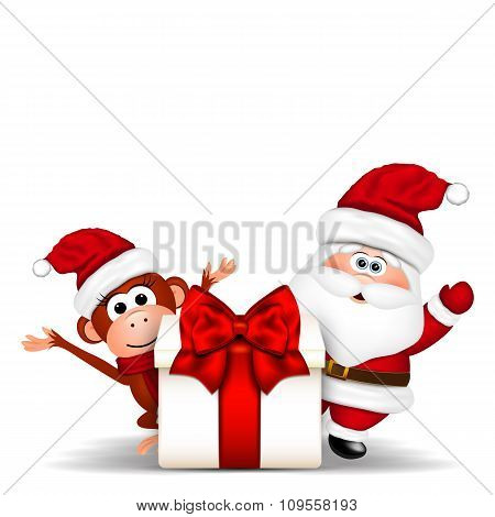 Santa Clause and Christmas Monkey on white background.