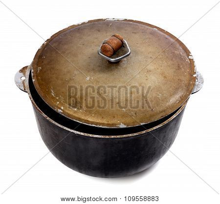 Old Dirty Big Pot On White Background