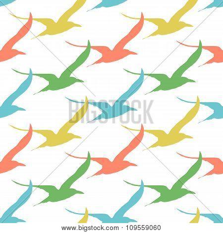 Birds seamless pattern vintage style