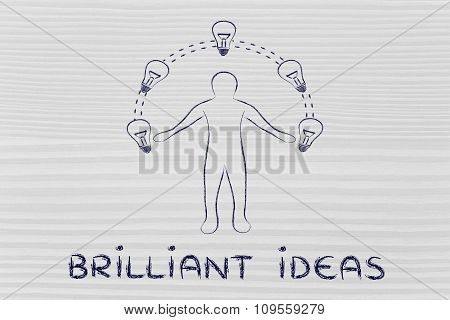 Man Juggling Ideas (lightbulbs Metaphor) With Text Brilliant Ideas