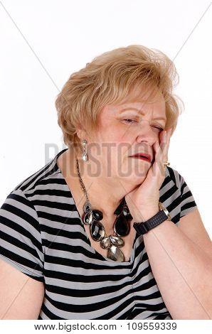 Sad Looking Older Woman.