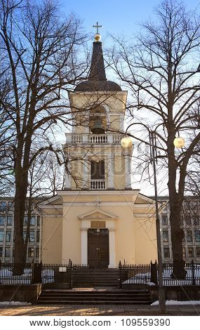 Belltower of Holy Trinity Church Helsinki. Was built in the neo classical style in 1826