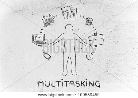 Busy Business Man Juggling With Office Objects And Text Multitasking