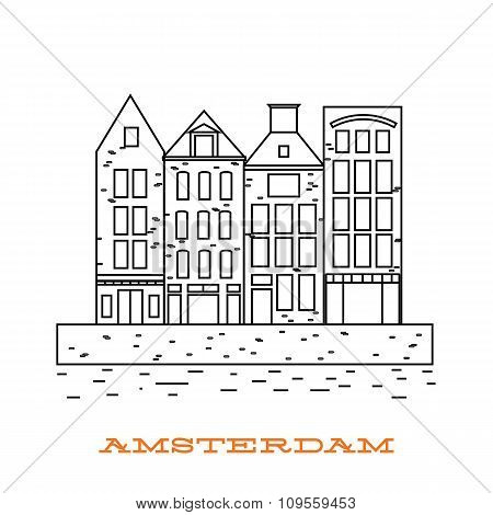 Vector Amsterdam icon. Old building on river. Holland. Dutch culture