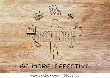 Busy Business Man Juggling With Office Objects And Text Be More Effective