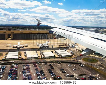 Big modern Aircraft    Landing In Heathrow Airport . London. Uk