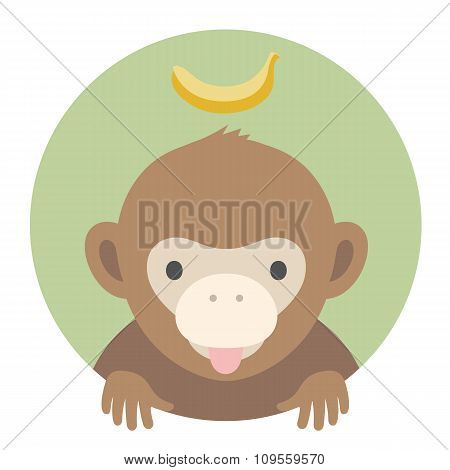 Animal Set. Portrait In Flat Graphics - Monkey With Banana. Vector Illustration.