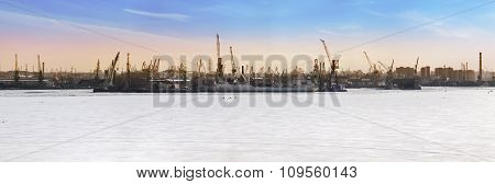 St. Petersburg. Seaport. Russia.View from the Gulf of Finland covered with ice. Panorama