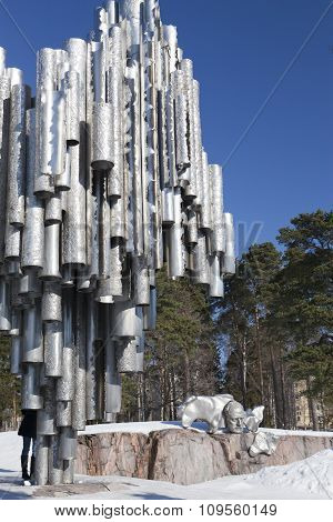 HELSINKI FINLAND - MARCH 17 2013: The monument of the Finnish composer Jean Sibelius 1967 on march 1