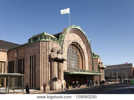 HELSINKI FINLAND - MARCH 17 2013: Helsinki central railway station facade and main entrance on march