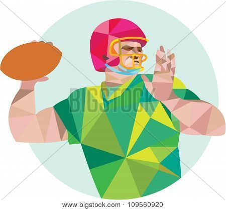 American Football Qb Throwing Ball Low Polygon