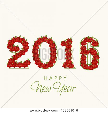 Stylish text 2016 made by red roses for Happy New Year celebration.