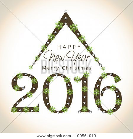 Beautiful greeting card design with stylish text 2016 decorated by snowflakes for Happy New Year and Merry Christmas celebration.