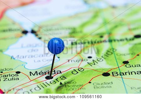Merida pinned on a map of America