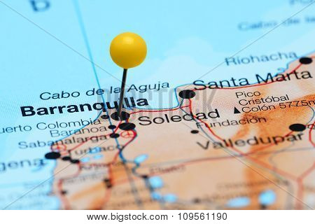 Barranquilla pinned on a map of America