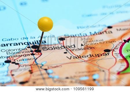 Soledad pinned on a map of America