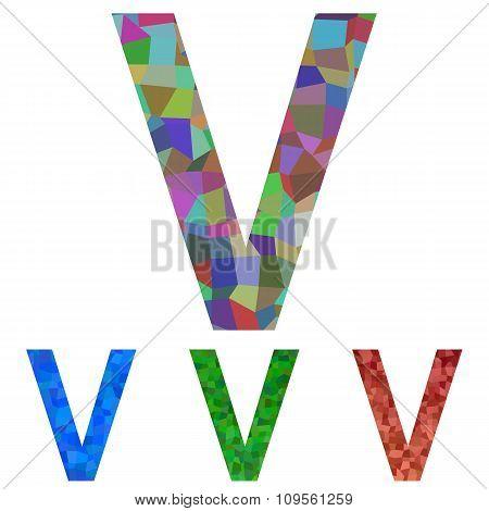 Mosaic font design - letter V