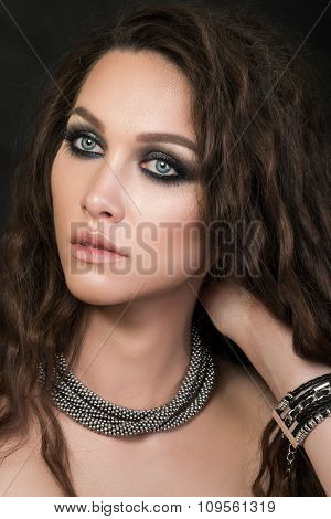 Close-up Portrait Of A Young Girl With Fashion Creative Make-up