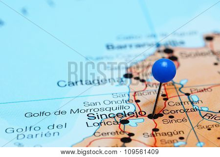 Sincelejo pinned on a map of America