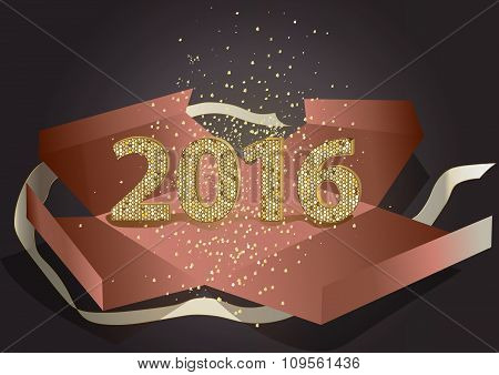 2016 of mosaic golden glitter in present box.Happy New Year and Merry christmas vector background