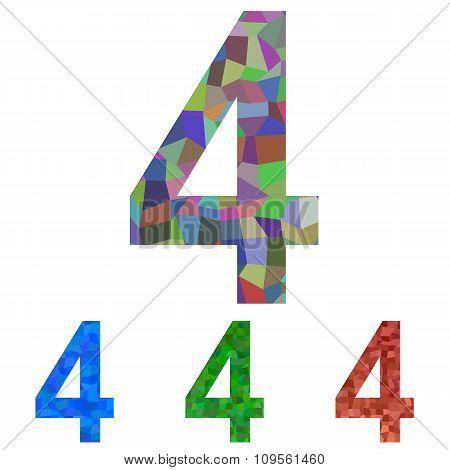 Mosaic font design set - number 4