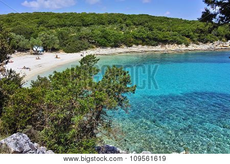 Blue waters of Emblisi Fiskardo Beach, Kefalonia