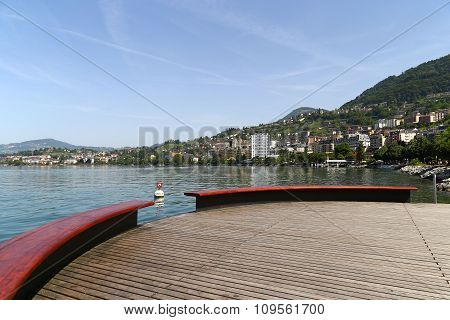 View Of Lake Geneva And The Alps From The City Of Montreux, Switzerland