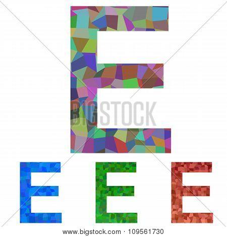 Mosaic font design - letter E