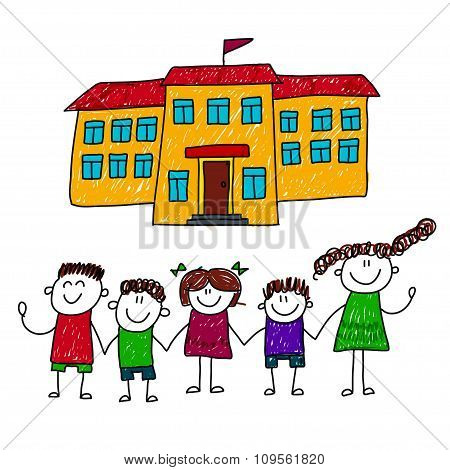 Vector Illustration Of Happy Students
