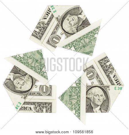 One Dollar Bills In A Recycle Symbol